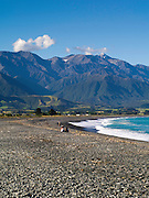 Beautiful view of the beach at Kaikoura, Canterbury, New Zealand.  Kaikoura is a beautful little holiday town with ocean whale tours.