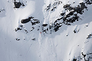 Verbier, Switzerland. March 20th 2010..X-Trem Verbier 2010 - Freeride World Tour.Bec des Rosses from Col des Gentianes.American snowboarder Shannan Yates
