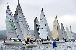 The Clyde Cruising Club's Scottish Series held on Loch Fyne by Tarbert. .Day 3 racing initially postponed awaiting  a light southerly...IRC Class Startline - with GBR9544, Mercenary, Mark Bradshaw, Cove Sailing Club, Hunter Impala