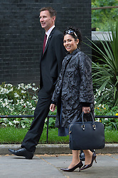 © London News Pictures. 19/05/15. London, UK. Jeremy Hunt, Secretary of State for Health and Priti Patel, Minister of State for Employment, attend the cabinet meeting, Downing Street, Central London. Photo credit: Laura Lean/LNP