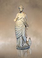 Marble Roman Statue of the Muse of Music ( Euterpe ) playing the lyre. , 2nd cent. AD, from Miletus (Balat, Soke ). Istanbul Archaeological museum Inv 2002 T.  Cat. Mendel 116 .<br /> <br /> If you prefer to buy from our ALAMY STOCK LIBRARY page at https://www.alamy.com/portfolio/paul-williams-funkystock/greco-roman-sculptures.html- Type -    Istanbul    - into LOWER SEARCH WITHIN GALLERY box - Refine search by adding a subject, place, background colour, museum etc.<br /> <br /> Visit our CLASSICAL WORLD HISTORIC SITES PHOTO COLLECTIONS for more photos to download or buy as wall art prints https://funkystock.photoshelter.com/gallery-collection/The-Romans-Art-Artefacts-Antiquities-Historic-Sites-Pictures-Images/C0000r2uLJJo9_s0c