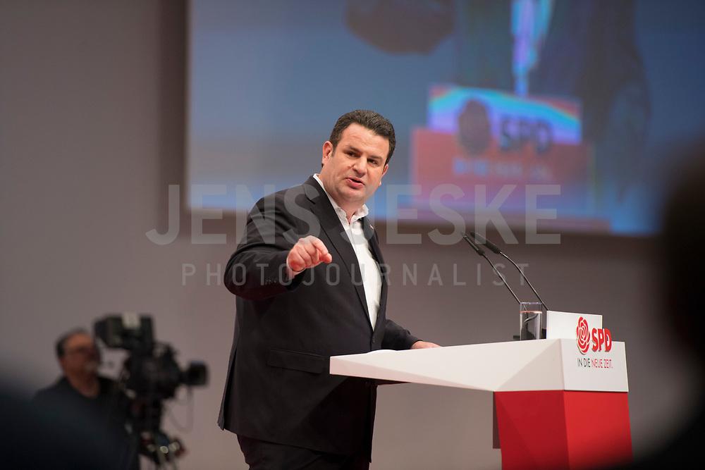 DEU, Deutschland, Germany, Berlin, 06.12.2019: Bundesarbeitsminister Hubertus Heil (SPD) beim Bundesparteitag der SPD im CityCube.