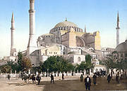 Hagia Sophia, Sancta Sophia, Istanbul (Constantinople), Turkey, c1890-1900. Photochrome . Until 1453 served as a cathedral. From May 1453 to 1934 it was a mosque, now a museum.  Byzantine Ottoman Religion Christian Muslim Architecture