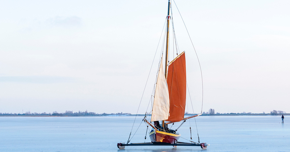 Ice sailing, old tradition in The Netherlands IJstjotter, ijs tjotter,