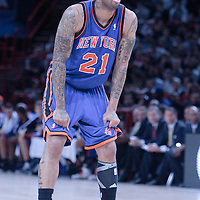 06 October 2010: New York Knicks forward Wilson Chandler #21 is seen during the Minnesota Timberwolves 106-100 victory over the New York Knicks, during 2010 NBA Europe Live, at the POPB Arena in Paris, France.