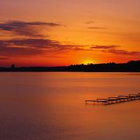 """Sunrise on Grand Traverse Bay""<br /> <br /> Amazing orange and gold sunrise and silhouette on Grand Traverse Bay!"
