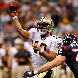 August 21, 2010; New Orleans, LA, USA; Houston Texans defensive end Jesse Nading (72) pressures New Orleans Saints quarterback Chase Daniel (10) as he throws during the second half of a 38-20 win by the New Orleans Saints over the Houston Texans during a preseason game at the Louisiana Superdome. Mandatory Credit: Derick E. Hingle