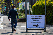 The first sign patients see as they arrive by car through to see NHS staff at a Primary Care Clinical Assessment Centre where potentially infectious and symptomatic Coronavirus patients can be assessed and treated by a doctor or a nurse, in a safe site, on the 16th of April 2020 in Dover, United Kingdom. This is not a COVID-19 testing facility, all patients will only be clinically assessed on site as there is no community testing currently available. All patients have been referred to this centre by NHS 111 or their GP.