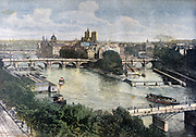Paris, France, view of the River Seine from the east with the Cathedral of Notre Dame de Paris on Ile de la Cite.   From 'Le Petit Journal', Paris, 1892. Water, Transport, Bridge, Wier