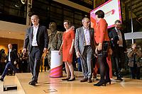 26 OCT 2019, BERLIN/GERMANY:<br /> Olaf Scholz, SPD, Bundesfinanzminister, Klara Geywitz, SPD Brandenburg, Norbert Walter-Borjans, SPD, Landesminister a.D., Saskia Esken, MdB, SPD,  (v.L.n.R.), verlassen die Buehne, nach der Bekanntgabe der SPD-Mitgliederbefragung  zur Wahl des neuen Parteivorsitzes, Willy-Brandt-Haus<br /> IMAGE: 20191026-01-052<br /> KEYWORDS: Verkündung, Verkeundung