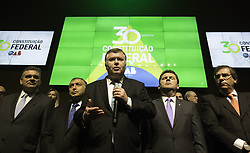 October 5, 2018 - SãO Paulo, Brazil - SÃO PAULO, SP - 05.10.2018: OAB SP COMEMORA 30 ANOS DA CONSTITUIÇÃO - Marcos da Costa, president of OAB-SP, held an event at the headquarters of the entity that celebrated the 30th anniversary of the creation of the constituent text. The group presented a manifesto in defense of the constitution and honored deputies who participated in the process in 1988. The afternoon of this Friday (05) (Credit Image: © Bruno Rocha/Fotoarena via ZUMA Press)