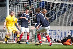 Falkirk's Blair Alston (2) scoring their third goal..Falkirk 3 v 2 Ayr United, 5/5/2012..©Michael Schofield..