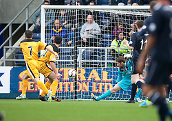 Dumbarton's Garry Fleming scoring their first goal.<br /> Half time : Falkirk 1 v 2 Dumbarton, Scottish Championship game played today at the Falkirk Stadium.<br /> ©Michael Schofield.
