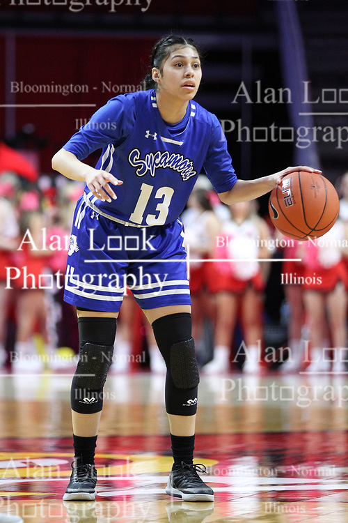 NORMAL, IL - February 10: Alexis Delgado during a college women's basketball Play4Kay game between the ISU Redbirds and the Indiana State Sycamores on February 10 2019 at Redbird Arena in Normal, IL. (Photo by Alan Look)