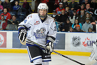 KELOWNA, CANADA, OCTOBER 22: Joe Hicketts #24 of the Victoria Royals looks for the pass as  the Victoria Royals visited the Kelowna Rockets on October 22, 2011 at Prospera Place in Kelowna, British Columbia, Canada (Photo by Marissa Baecker/shootthebreeze.ca) *** Local Caption ***Joe Hicketts;