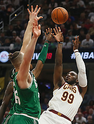 October 17, 2017 - Cleveland, OH, USA - The Cleveland Cavaliers' Jae Crowder (99) puts up a shot over the Boston Celtics' Aron Baynes in the second quarter on Tuesday, Oct. 17, 2017, at Quicken Loans Arena in Cleveland. (Credit Image: © Leah Klafczynski/TNS via ZUMA Wire)