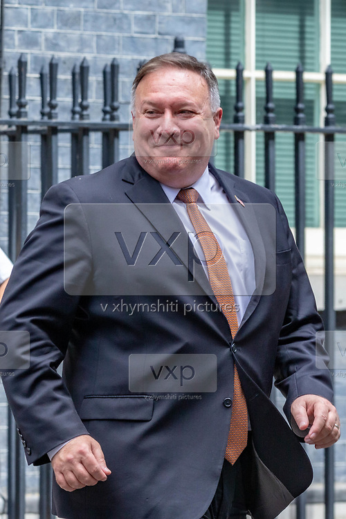 US Secretary of State Mike Pompeo and UK Foreign Secretary Dominic Raab (not in picture) leaves from Number Ten in Downing Street, central London on Tuesday, July 21, 2020 – to continue discussions at the Foreign and Commonwealth Office (FCO) on 'global priorities, including the COVID-19 economic recovery plans, issues related to the People's Republic of China (PRC) and Hong Kong. (VXP Photo/ Erica DeZonne)