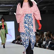 Designer Rosa Cameron at the Best of Graduate Fashion Week showcases at the Graduate Fashion Week 2018, June 6 2018 at Truman Brewery, London, UK.
