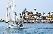 Sailing Past Balboa Peninsula Mansions