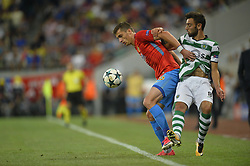 August 23, 2017 - Bucharest, Romania - Bruno Fernandes, Sporting, vies Ionut Larie of Steaua  during the UEFA Champions League play-offs 2nd leg football match between FC Steaua Bucharest and Sporting Lisbon at the National Arena Stadium, in Bucharest, Romania on August 23, 2017. (Credit Image: © Alex Nicodim/NurPhoto via ZUMA Press)