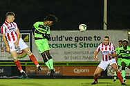 Forest Green Rovers Daniel Ogunleye(11) heads the ball towards goal during the FA Youth Cup match between U18 Forest Green Rovers and U18 Cheltenham Town at the New Lawn, Forest Green, United Kingdom on 29 October 2018.