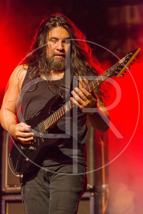 BALTIMORE United States - May 22, 2015: Ken Andrews of Obituary performs at Maryland Deathfest