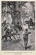 Their Favorite Lair is the Hollow Trunk of the Gum tree from the book ' Mistress Branican ' by Jules Verne, illustrated by Leon Benett. The story begins in the United States, where the heroine, Mistress Branican, suffers a mental breakdown after the death by drowning of her young son. On recovering, she learns that her husband, Captain Branican, has been reported lost at sea. Having acquired a fortune, she is able to launch an expedition to search for her husband, who she is convinced is still alive. She leads the expedition herself and trail leads her into the Australian hinterland. Mistress Branican (French: Mistress Branican, 1891) is an adventure novel written by Jules Verne and based on Colonel Peter Egerton Warburton and Ernest Giles accounts of their journeys across the Western Australian deserts, and inspired by the search launched by Lady Franklin when her husband Sir John Franklin was reported lost in the Northwest Passage. Translated by A. Estoclet, Published in New York, Cassell Pub. Co. 1891.