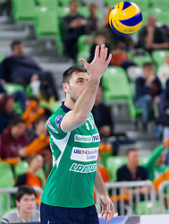 Tsvetan Sokolov of Cuneo during volleyball match between ACH Volley Ljubljana and Bre Banca Lannutti Cuneo (ITA) in Playoff 12 game of CEV Champions League 2012/13 on January 15, 2013 in Arena Stozice, Ljubljana, Slovenia. (Photo By Vid Ponikvar / Sportida.com)