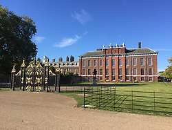 The front of Kensington Palace, where the tourists enter, Harry and Meghan's apartment is to the left, hidden from sight, the state rooms are furthest left. In May, the left side of the palace was dominated by white sheeting<br /> <br /> FULL TEXT SEND TO YOU VIA E-MAIL. PLEASE CHECK CAPTION FOR FURTHER INFORMATION PER IMAGE.