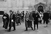 Court, Liverymen and Freemen   process from the Cathedral to the Stationers Hall. , <br /> <br /> Cakes and ale <br /> <br /> In accordance with the bequest of Alderman John Norton, Master of the Stationers' Company in 1607, 1611 and 1612, cakes and ale (and other victuals) are  provided at Stationers' Hall after  a private service for the Stationers' Company at St. Paul's . , London. 28 February 2017