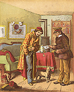 Paying for letter delivery. After introduction (1840) of Rowland Hill's system of pre-payment by adhesive stamps, payment by adddressee was superceded. In Germany this did not happen until after creation of German Empire in 1871. Chromolithograph published Germany 1871.