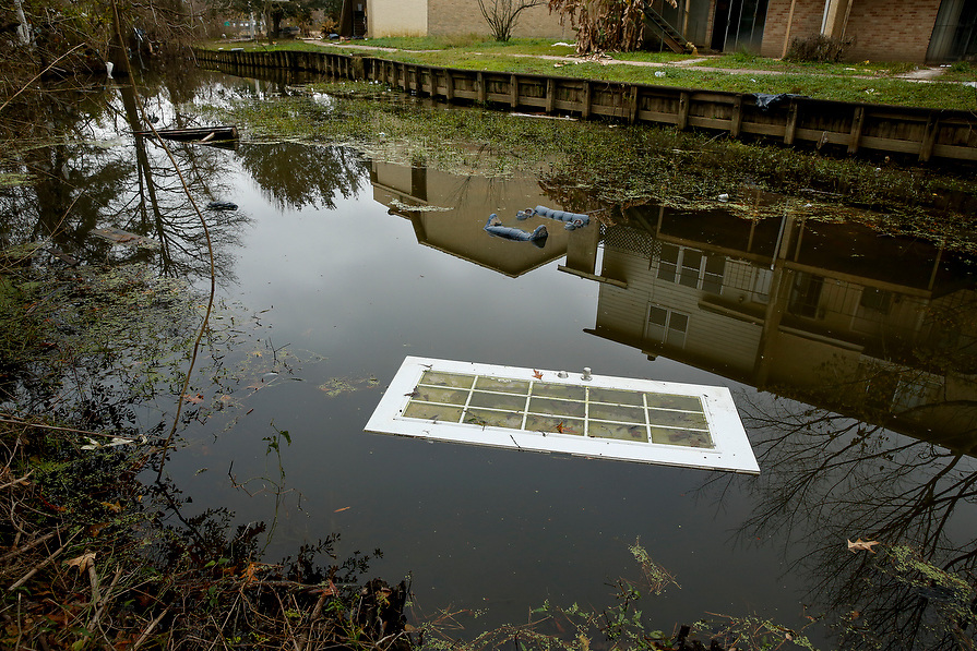 These townhouses located near the San Jacinto River have been abandoned since they were flooded during tropical storm Harvey in Kingwood, Houston, Texas, U.S., December 29, 2017.