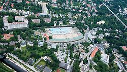 THEMENBILD - Luftaufnahme Strandbad Baden, ueberfuellt an einem sonnigen Tag, aufgenommen am 17. Juni 2012, Baden, Oesterreich // THEMES PICTURE - Aerial shot from public swimming pool in Baden, full with people picture from 2012/06/17 at Baden, Austria. EXPA Pictures © 2012, PhotoCredit: EXPA/ Sascha Trimmel
