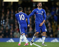 Chelsea's Diego Costa with Eden Hazard during the Premier League match at Stamford Bridge Stadium, London. Picture date: April 25th, 2017. Pic credit should read: David Klein/Sportimage
