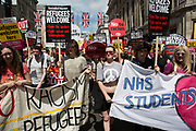 Peoples Assembly demonstration: No More Austerity - No To Racism - Tories Must Go, on Saturday July 16th in London, United Kingdom. Tens of thousands of people gathered to protest in a march through the capital protesting against the Conservative Party cuts. Almost 150 Councillors from across the country have signed a letter criticising the Government for funding cuts and and will be joining those marching in London. The letter followed the recent budget in which the Government laid out plans to cut support for disabled people while offering tax breaks for big business and the wealthy.