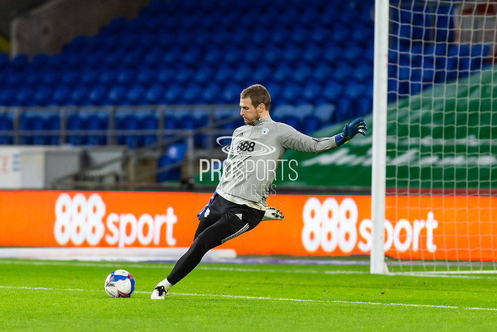 Cardiff City's Goalkeeper Alex Smithies (12) during the pre-match warm-up at the EFL Sky Bet Championship match between Cardiff City and Birmingham City at the Cardiff City Stadium, Cardiff, Wales on 16 December 2020.