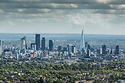 © Licensed to London News Pictures. 26/04/2016. London, UK. Aerial view looking at the skyline towards the City of London. Buildings including The Shard, Sky Garden.  Photo credit: Martin Apps/LNP