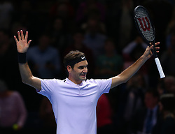 November 16, 2017 - London, United Kingdom - Roger Federer of Switzerland celebrates after beating Marin Cilic of Croatia 2 sets 1.during Day five of the Nitto ATP World Tour  Finals played at The O2 Arena, London on November 16 2017  (Credit Image: © Kieran Galvin/NurPhoto via ZUMA Press)