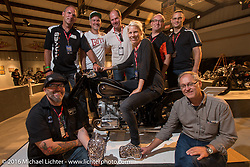 Ola Stenegard and other employees of BMW from Munich on the Industry party night for Michael Lichter's tattoo themed Skin & Bones Motorcycles as Art exhibition at the Buffalo Chip during the annual Sturgis Black Hills Motorcycle Rally.  SD, USA.  August 7, 2016.  Photography ©2016 Michael Lichter.
