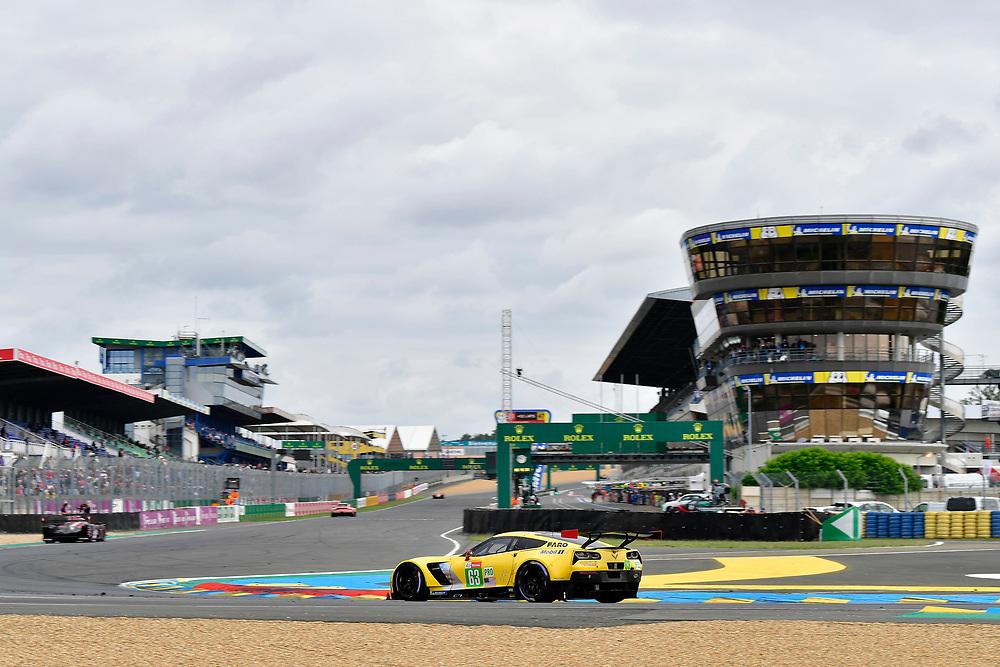 #63 Corvette Racing Chevrolet Corvette C7.R: Jan Magnussen, Antonio Garcia, Mike Rockenfeller<br /> Sunday 17 June 2018<br /> 24 Hours of Le Mans<br /> 2018 24 Hours of Le Mans<br /> Circuit de la Sarthe  FR<br /> World Copyright: Scott R LePage
