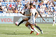 Adenon Abdou of Amiens and Ndombele Alvaro Tanguy of Lyon and Terrier Martin of Lyon during the French championship L1 football match between Olympique Lyonnais and Amiens on August 12th, 2018 at Groupama stadium in Decines Charpieu near Lyon, France - Photo Romain Biard / Isports / ProSportsImages / DPPI