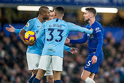 December 8, 2018 - London, Greater London, England - Jorginho of Chelsea argues with Fernandinho of Manchester City during the Premier League match between Chelsea and Manchester City at Stamford Bridge, London, England on 8 December 2018. (Credit Image: © AFP7 via ZUMA Wire)