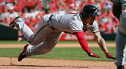 August 13, 2017 - St Louis, MO, USA - Atlanta Braves' Jace Peterson dives into third base with a triple in the ninth inning during a game between the St. Louis Cardinals and the Atlanta Braves on Sunday, August 13, 2017, at Busch Stadium in St. Louis. (Credit Image: © Chris Lee/TNS via ZUMA Wire)
