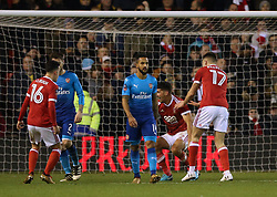 Nottingham Forest's Eric Lichaj (second right) celebrates scoring his side's second goal of the game