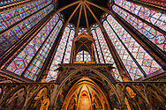 A high dynamic range photo of the stained glass windows of La Sainte-Chapelle in Paris, France on May 18, 2012.