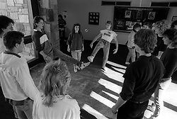 Unidentified students at County College of Morris play an inpromptu game of foot bag on campus, Wednesday, Feb. 4, 1987 in Randolph, N.J. (D. Ross Cameron/North Jersey Advance)