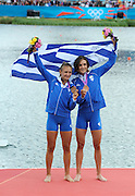 Eton Dorney, Windsor, Great Britain,..2012 London Olympic Regatta, Dorney Lake. Eton Rowing Centre, Berkshire.  Dorney Lake.  ..Women's Lightweight Doubles sculls,  GRE LW2X. Christina GIAZITZIDOU.   Alexandra TSIAVOU. ..12:39:26  Saturday  04/08/2012 [Mandatory Credit: Peter Spurrier/Intersport Images]