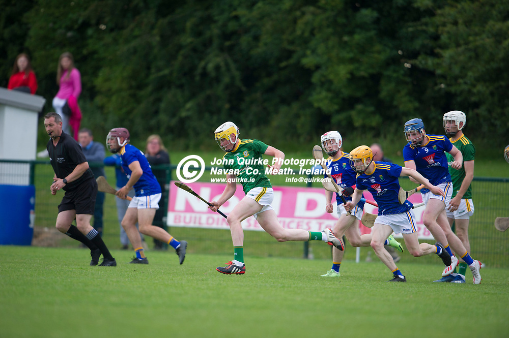 13-07-21. Meath v Wicklow - Leinster U-20 B Hurling Championship (Richie McElligott Cup) 2021 at St. Loman's Park, Trim.<br /> Justin Coyne, Meath on a solo run against Wicklow in the Leinster U-20 B Hurling Championship (Richie McElligott Cup) 2021<br /> Photo: John Quirke / www.quirke.ie<br /> ©John Quirke Photography, 16 Proudstown Road, Navan. Co. Meath. (info@quirke.ie / 046-9028461 / 087-2579454).