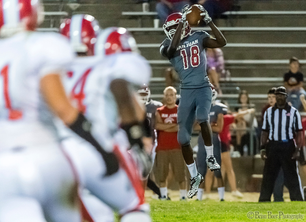 San Juan Spartans DeJonte Hall (18), catches the ball during the second quarter as the San Juan Spartans host the Mira Loma Matadors, Friday Sep 16, 2016.<br /> photo by Brian Baer