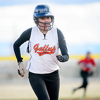 032015  Adron Gardner/Independent<br /> <br /> Gallup JV Bengal Kendall Toadlena  (7) sprints to third base in a game against the Hatch Valley Bears during the Grants Invitational Softball tournament in Grants Friday.